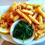 Fried Clams and Garlic Spinach