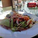 The salmon and avocado salad entree