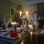 Xmas in July. Crystal and silver service dinner in the dining room.