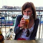 Enjoying my free drink on the pier.