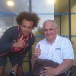 Devant l'hôtel avec le capitaine du Toulouse Football Club