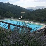Pool with a view of the surrounding Tuscan mountains