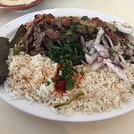 Combination plate. Fattouch, hummus, rice, grape leaves, shish Kafta, chicken kabob, and meat sh