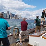 Setting the sails on the Liberty Clipper