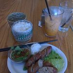 Lao sausage with sticky rice and Thai tea