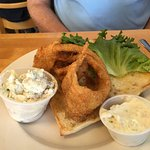 fish sandwich with dill potato salad