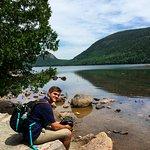 Son enjoying beautiful Jordan Pond. Great place for a visit