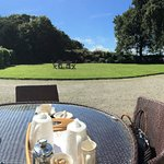 Panoramic view from the front door welcoming cream tea
