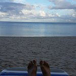 A little morning relaxing. The beach is empty in the morning.