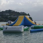 This play area in the water is not part of the hotel but down the beach. Fee is 10 EC per person