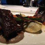 Kangaroo app, pork jaw salad, seasonal sorbet composition,  Australian lamb loin and duck 2 ways