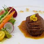 Duckling Breast Fillet with an Orange Sauce, Green Peas Puree and Glazed Carrots