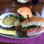 Ham and cheese sandwich with applesauce