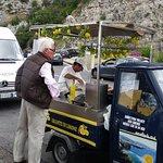 Giancarlo buying lemon ice on the road to Positano