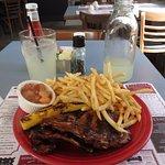 Hawaiian Pork Chops w/ string fries, applesauce & grilled pineapple