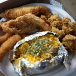 Oysters perch and hush puppies