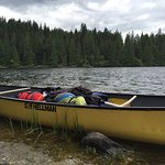 Canoe loaded with camping gear!
