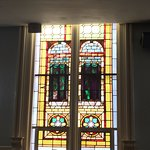 Stained glass windows with secret message for slaves.