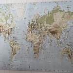 World map at one end of the cafe