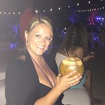 Beach party. They cut off the top of the coconut & filled with rum!