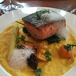 Crispy skin salmon and sweet corn polenta