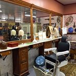 Restored chairs and marble barber shop counter