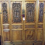 Carved Chinese elmwood cabinet