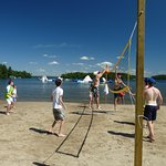 Beach volleyball, waterpark in the background