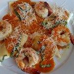 Shrimp and stuffed shells pasta