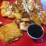 Paul's Stuffed French Toast - I'd already cut some of it. Cheese potatoes as my side.