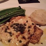 Tilapia Imperial with garlic mashed potatoes and string beans