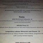 Dinner menu at Rough Riders