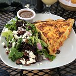 Sundried tomato quiche and maple pecan goat cheese salad