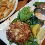 Crab cakes and fries.