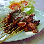 Chicken satay with spicy sauce
