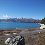 Beautiful Lake Tekapo and the mountains in the distance