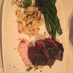 Steak, broccolini, lobster mac n cheese!! YUM!