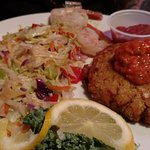 Crab Cake with pepper sauce - shrimp and hot slaw
