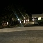 View of the front parking/drop off area at night