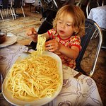 Generous portion plain pasta for our two year old! Too bad the rest of the food also focused mor