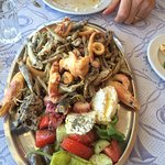 Plate of mixed seafood. Mostly little fish though.