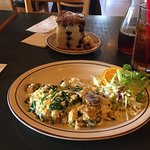 Breakfast of vegetable omelet, blueberry coffee cake and iced tea