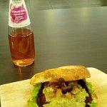 bean burger and organic drink