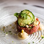 Beef tartar with soy mayonnaise and coriander
