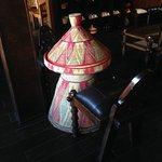 """A typical Ethiopian """"Messob"""" - table in the restaurant. However, it seems not used for dining he"""