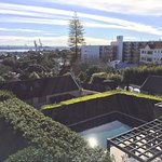 The view from our balcony over the hedged pool and Parnell suburb.