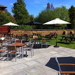 The Bull at Towcester garden patio seating area