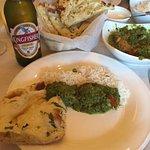Chicken Tikka Saag, garlic Naan and Kingfisher beer
