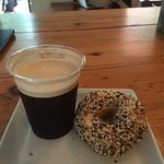 """Nitrogen infused cold coffee with Cleveland Bagel Company """"everything """" Bagel"""