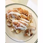 Apple crumb cake--it was served hot, super delicious!